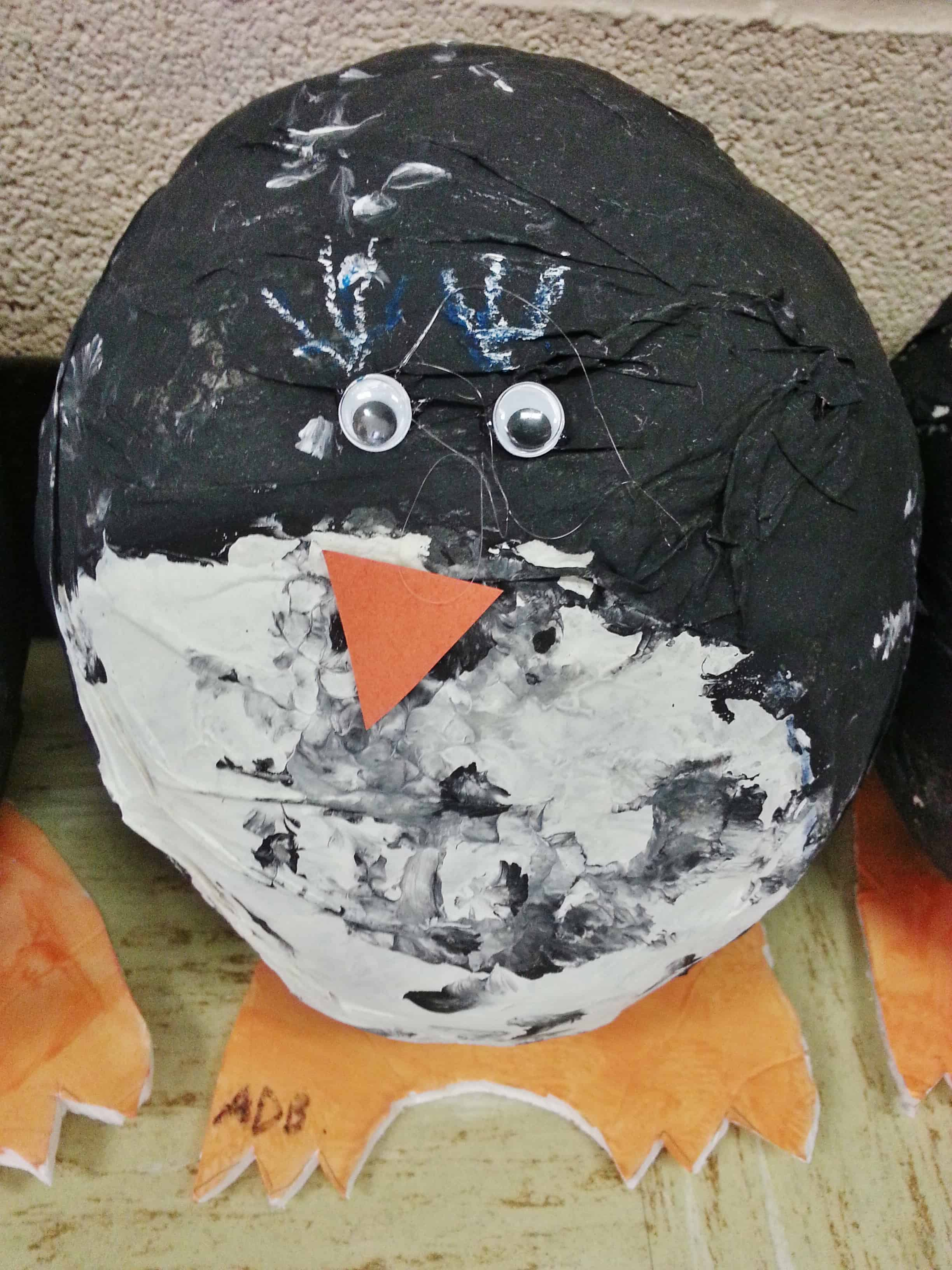 Paper mache penguin project for kids classrooms for Paper mache crafts