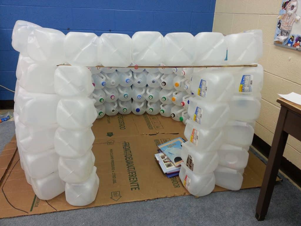 igloo made from gallon jugs