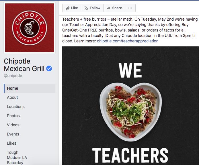 Chipotle Teacher Appreciation FREE Food Day