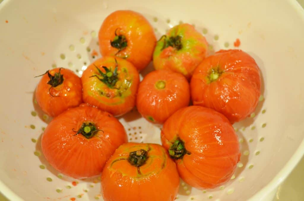 Blanching Tomatoes for DIY Homemade Spaghetti Sauce Canning Recipe