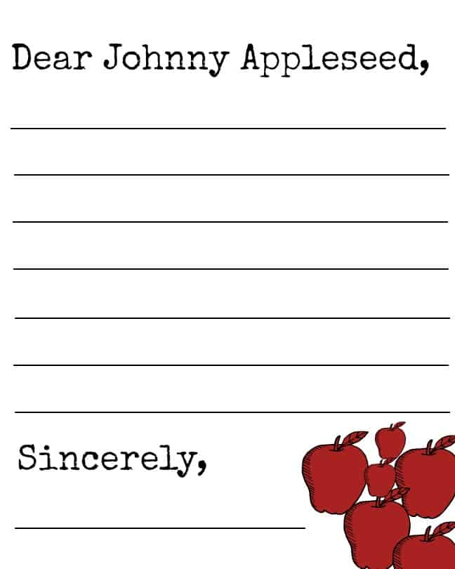 Printable Johnny Appleseed Letter Template