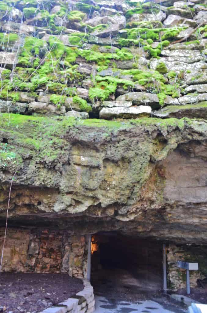 mossy rock over Fantastic Caverns in Missouri