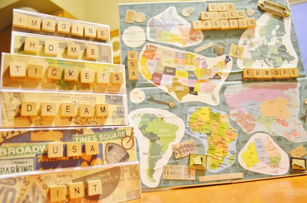 DIY Mod Podge Travel Memory Boxes and Map