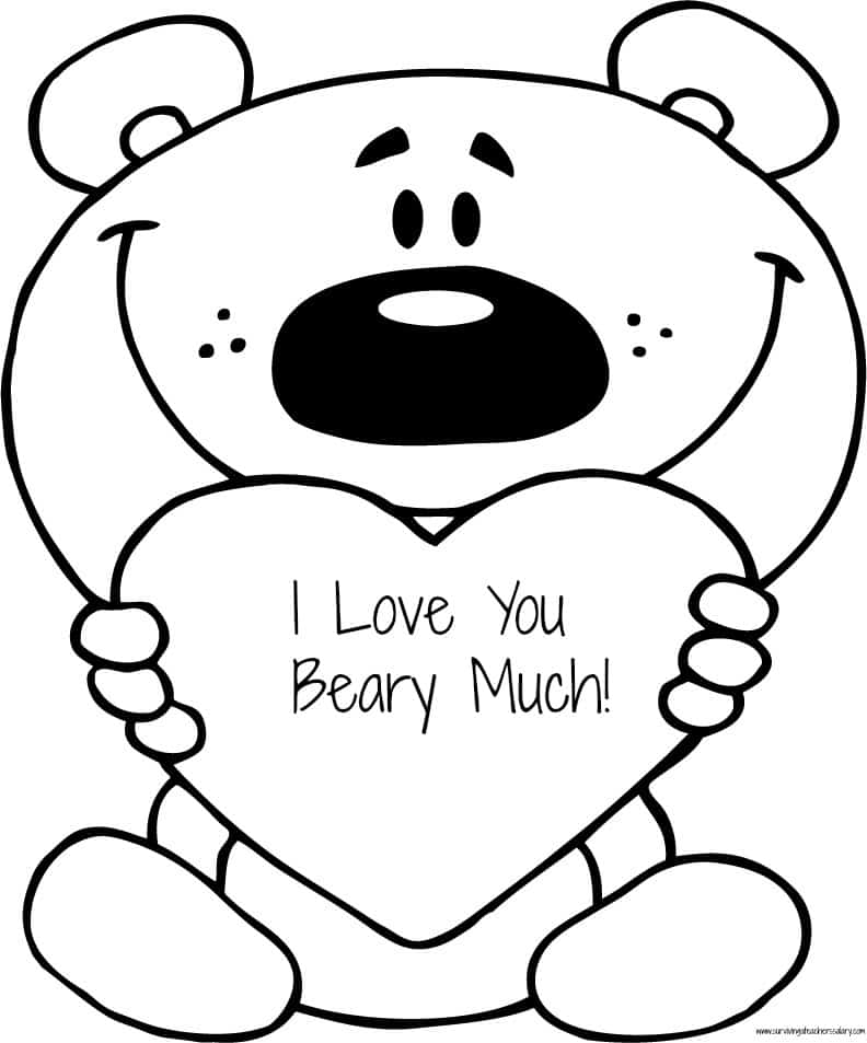 FREE Valentine   s    I Love You Beary Much    Coloring Page PrintableI Love You So Much Coloring Pages