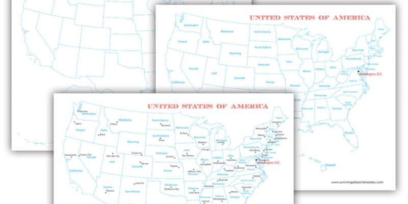 FREE U.S.A. Map Printables – Blank, City, and States