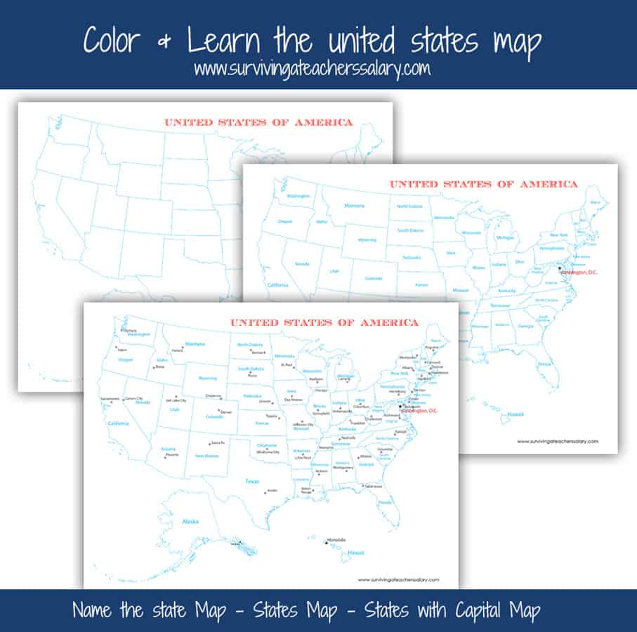 FREE USA Map Printables Blank City and States