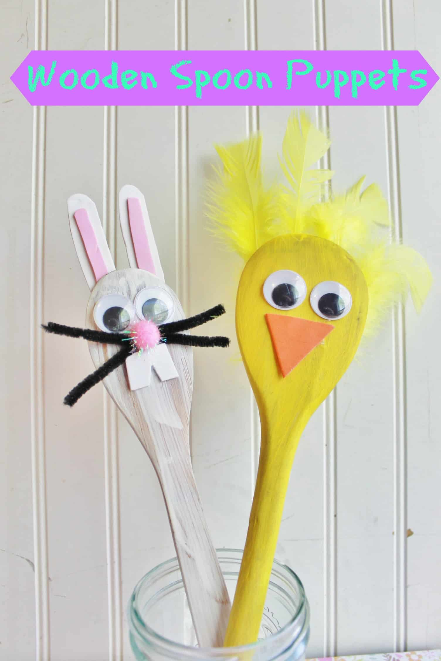 easter wooden spoon puppets