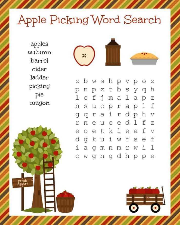 Fall Apple Picking Word Search Printable