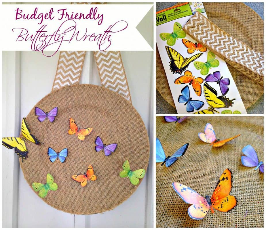 budget friendly butterfly spring wreath