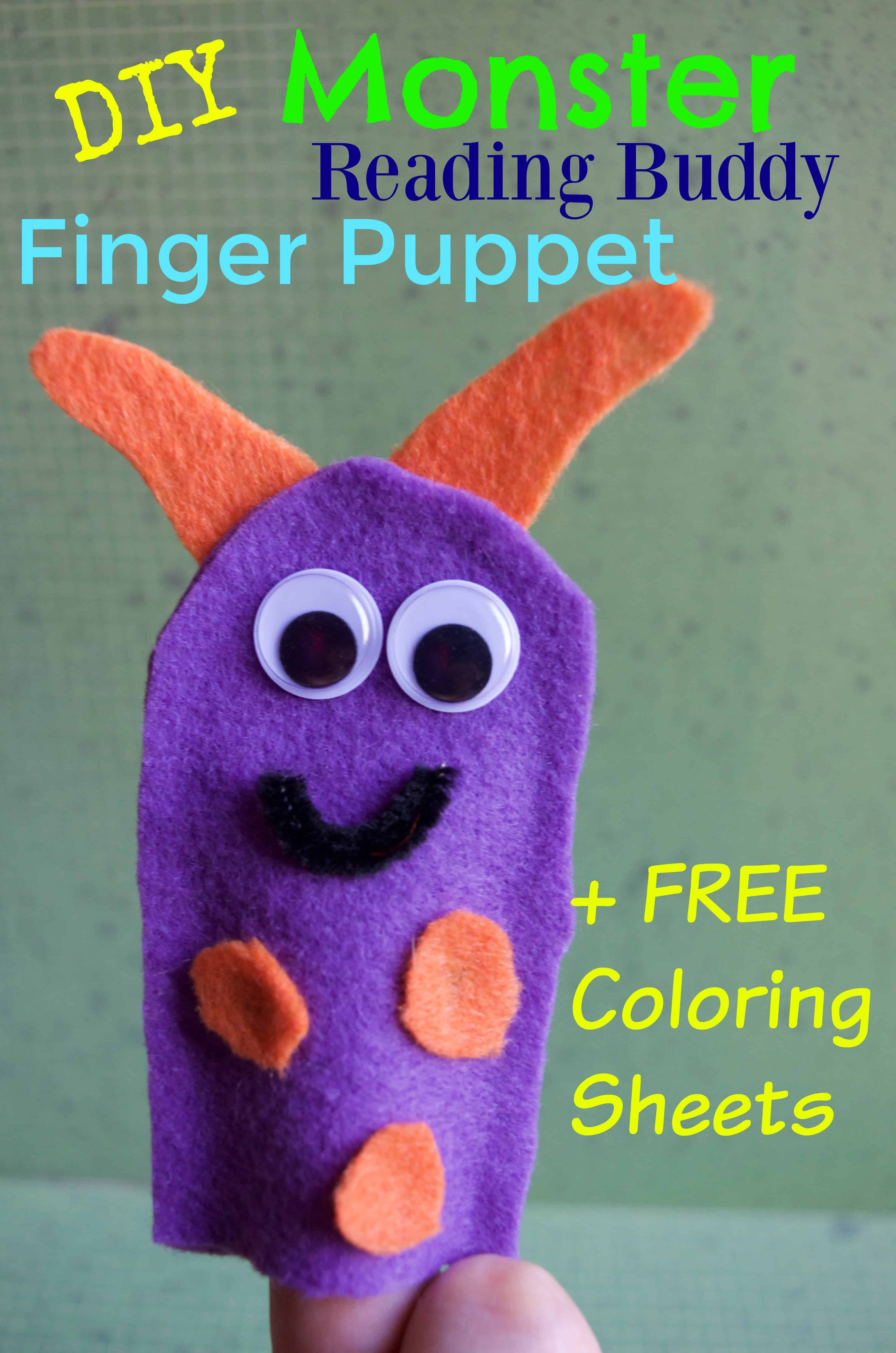 Free coloring pages reading - Diy Monster Reading Buddy Felt Finger Puppet