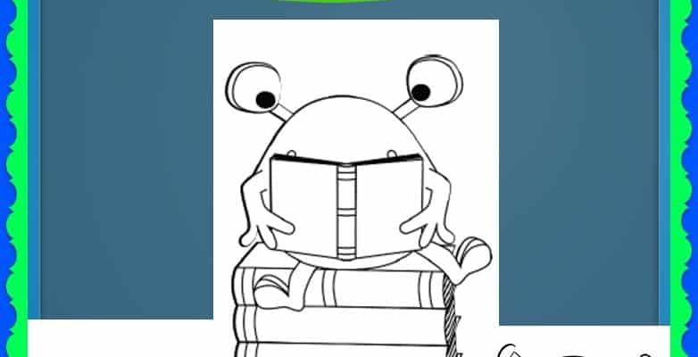 FREE Reading Monsters With Books Coloring Sheets
