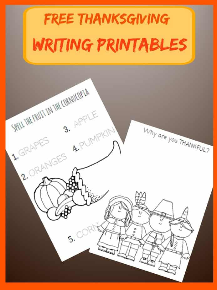 free Thanksgiving Writing Printable Worksheets Image