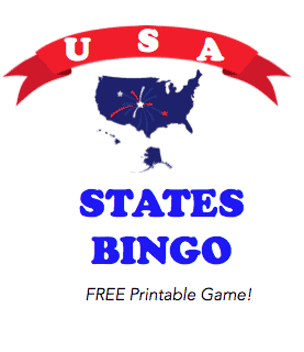 USA States Bingo Printable Worksheet