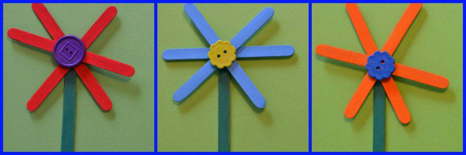 flower craft stick craft for kids Collage