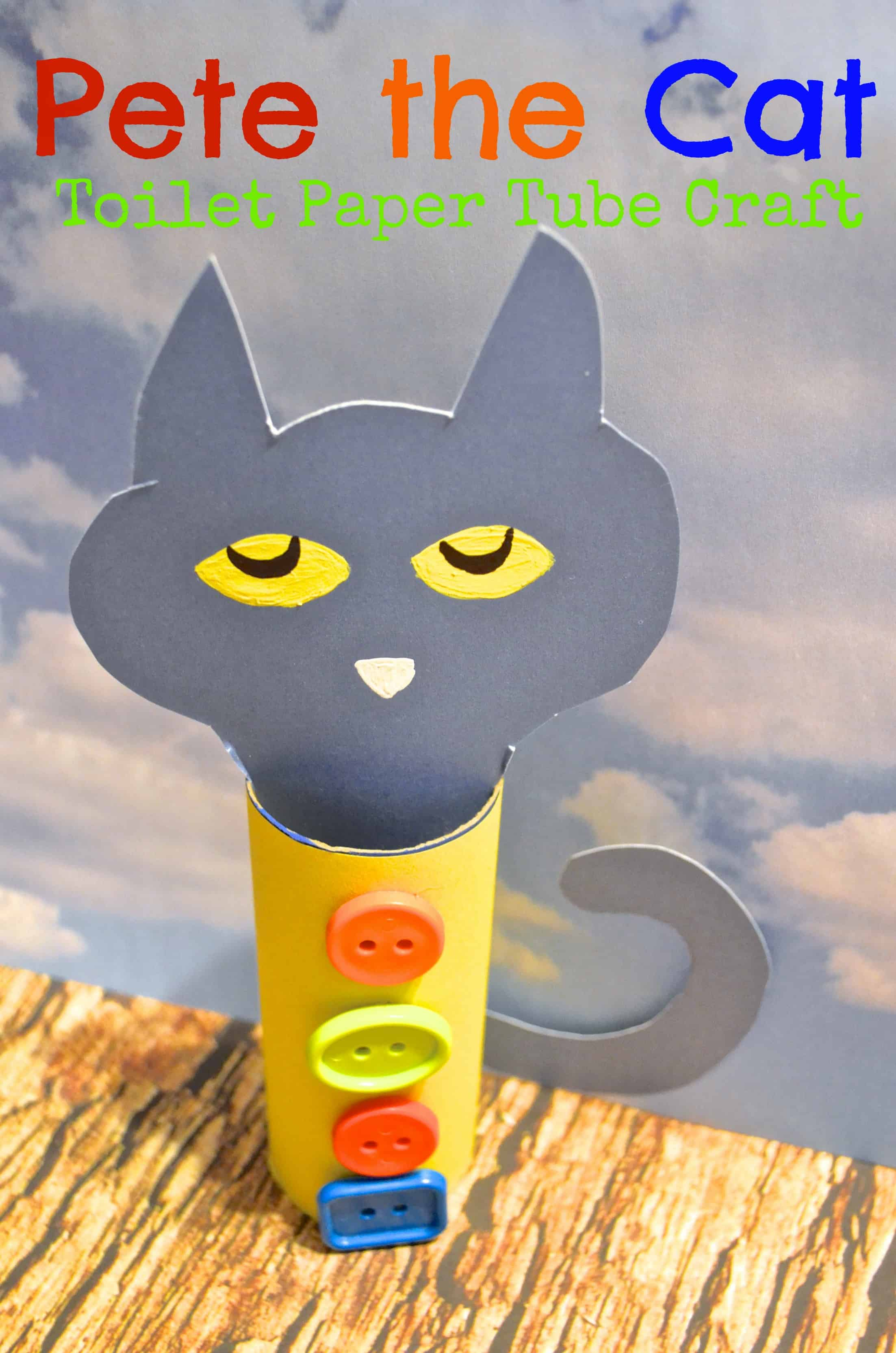 Pete the cat toilet paper tube craft for kids for Cat crafts for toddlers