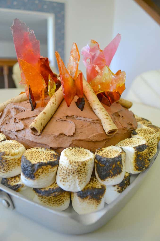 Campfire Camping Birthday Cake for Kids