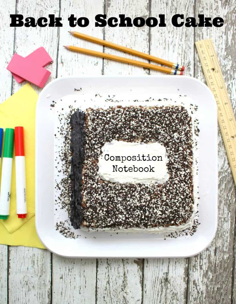 Back to School Composition Notebook Cake Recipe