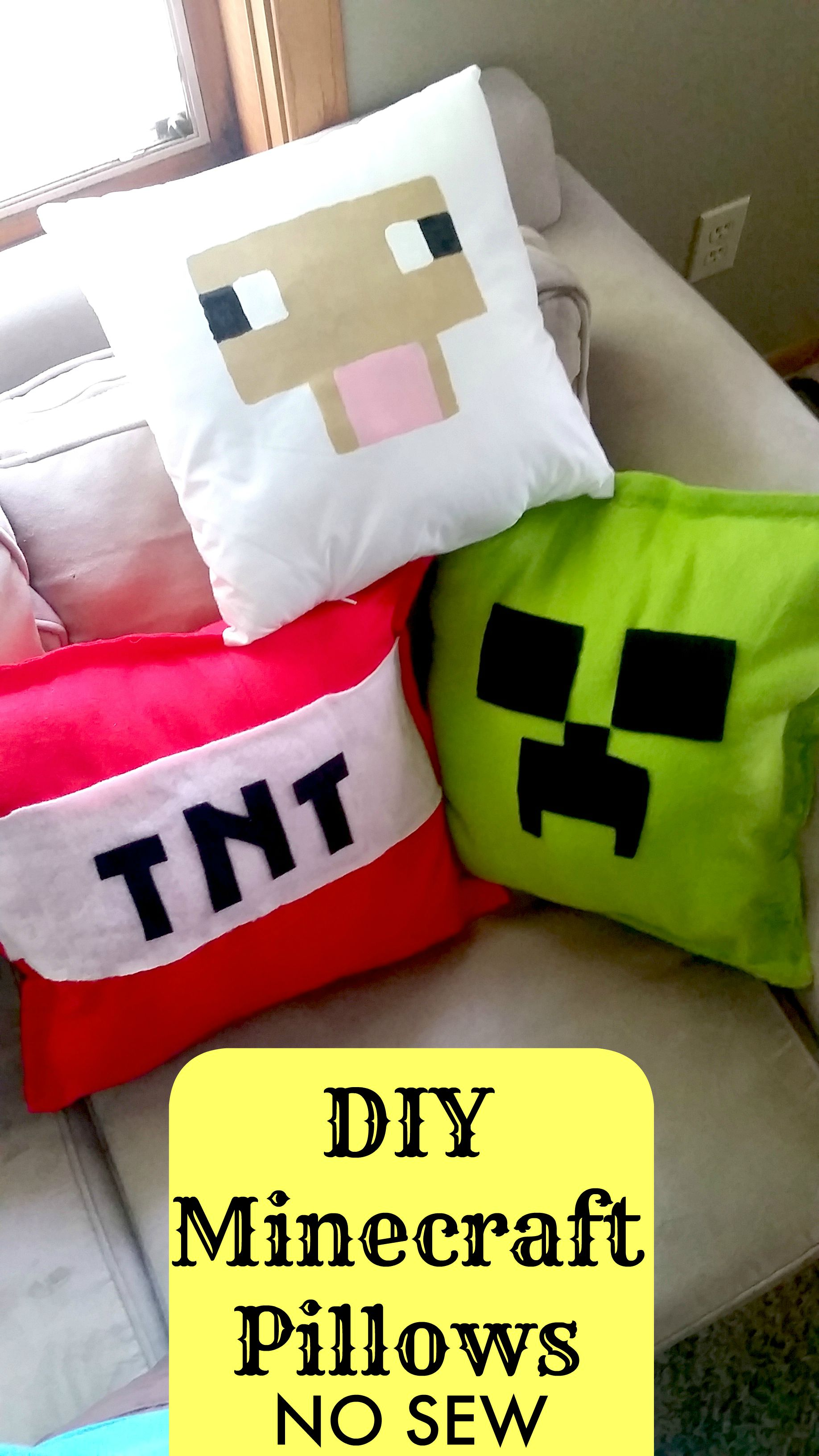 Make Your Own Diy Minecraft Pillows No Sew Tutorial