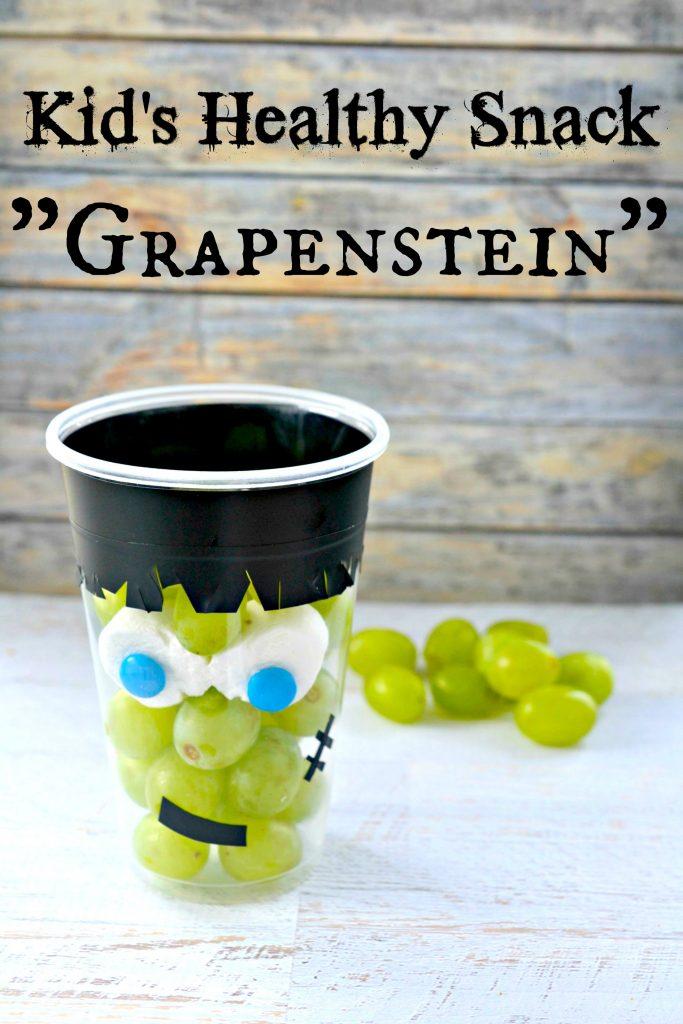 Healthy Halloween Kid's Snack Frankenstein Grape Cup