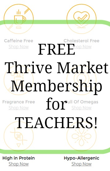 display for a free thrive market membership for teachers