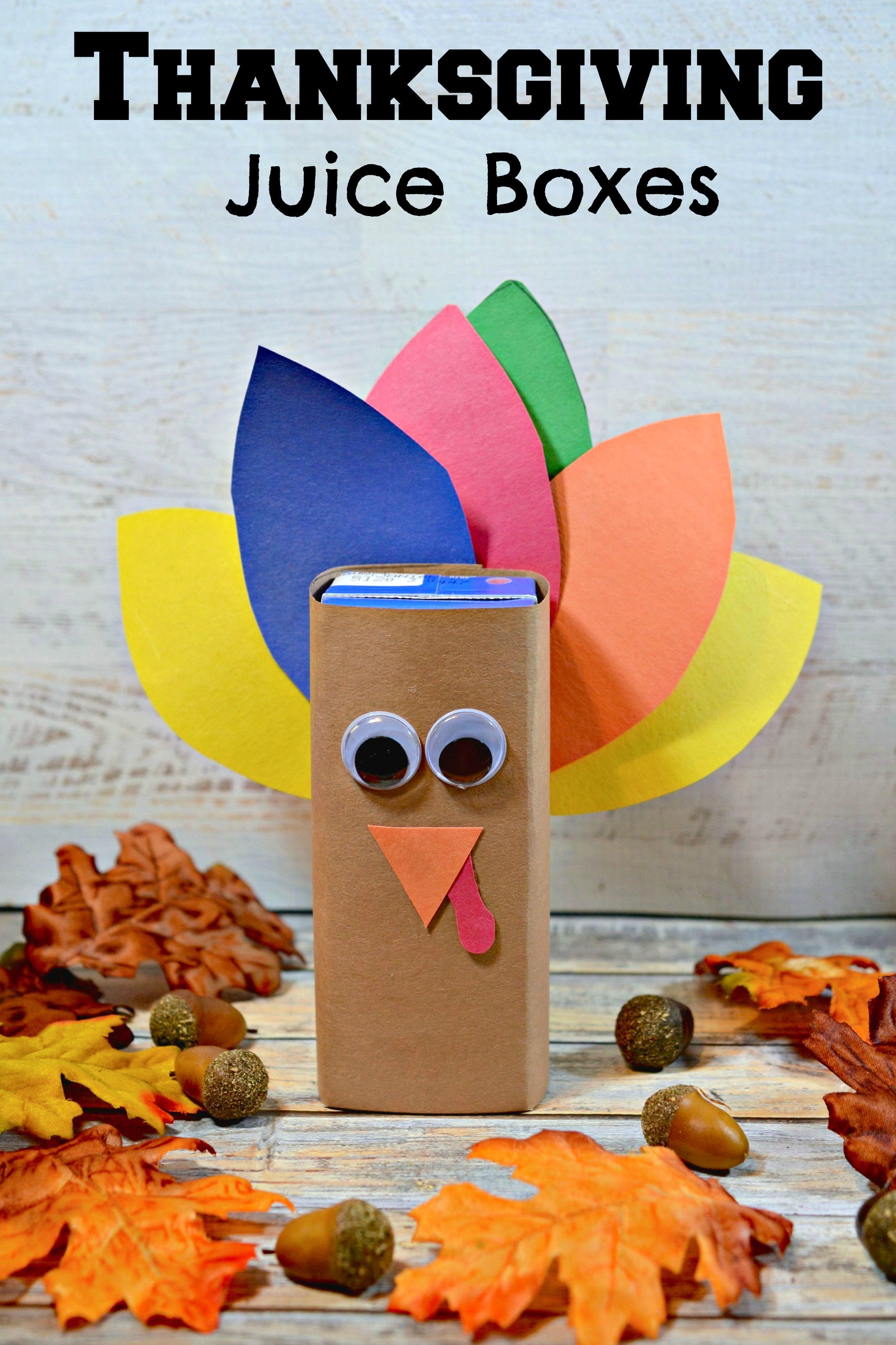 Thanksgiving Turkey Juice Box Idea For Kids