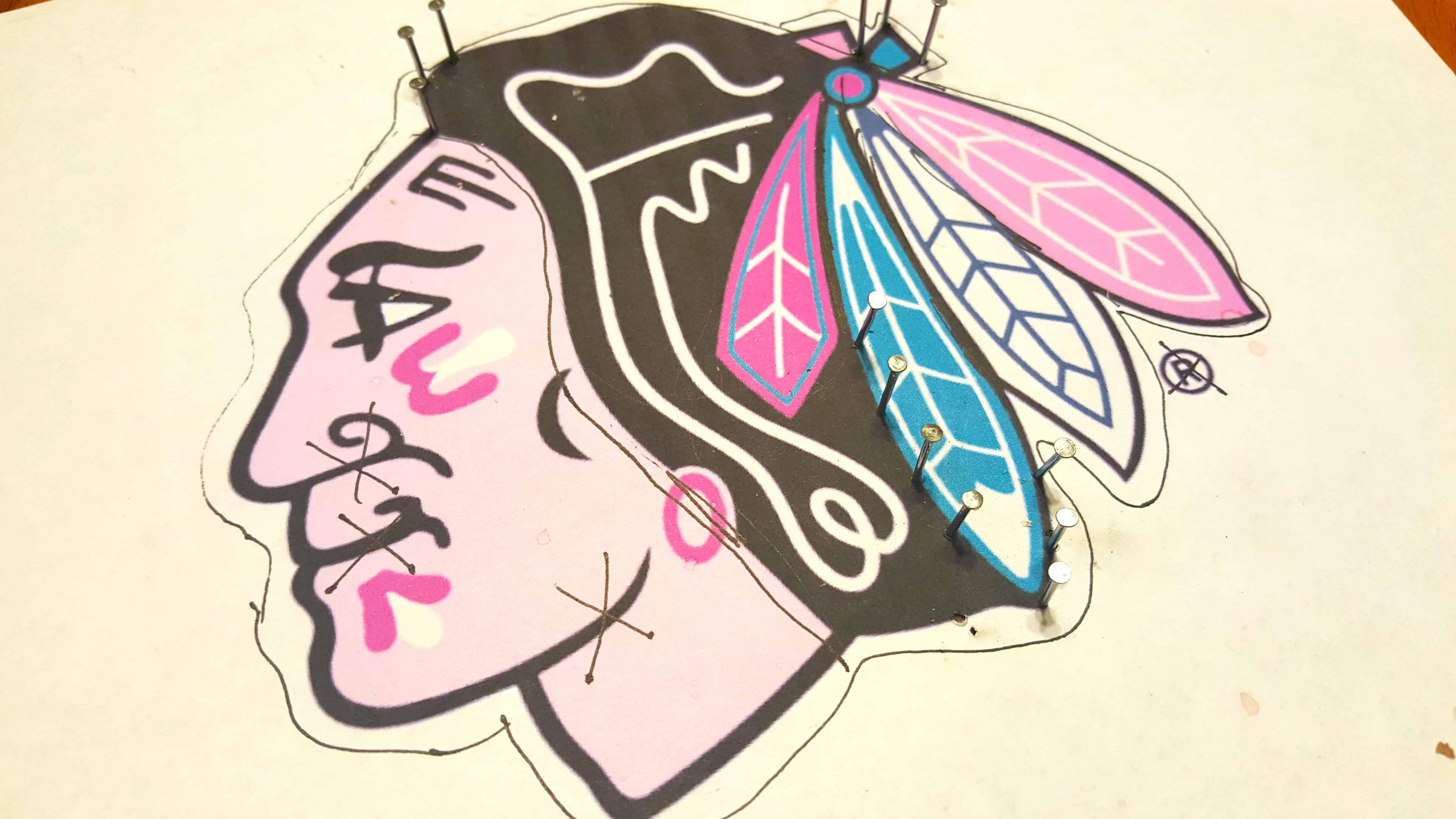 sports team string art craft chicago blackhawks