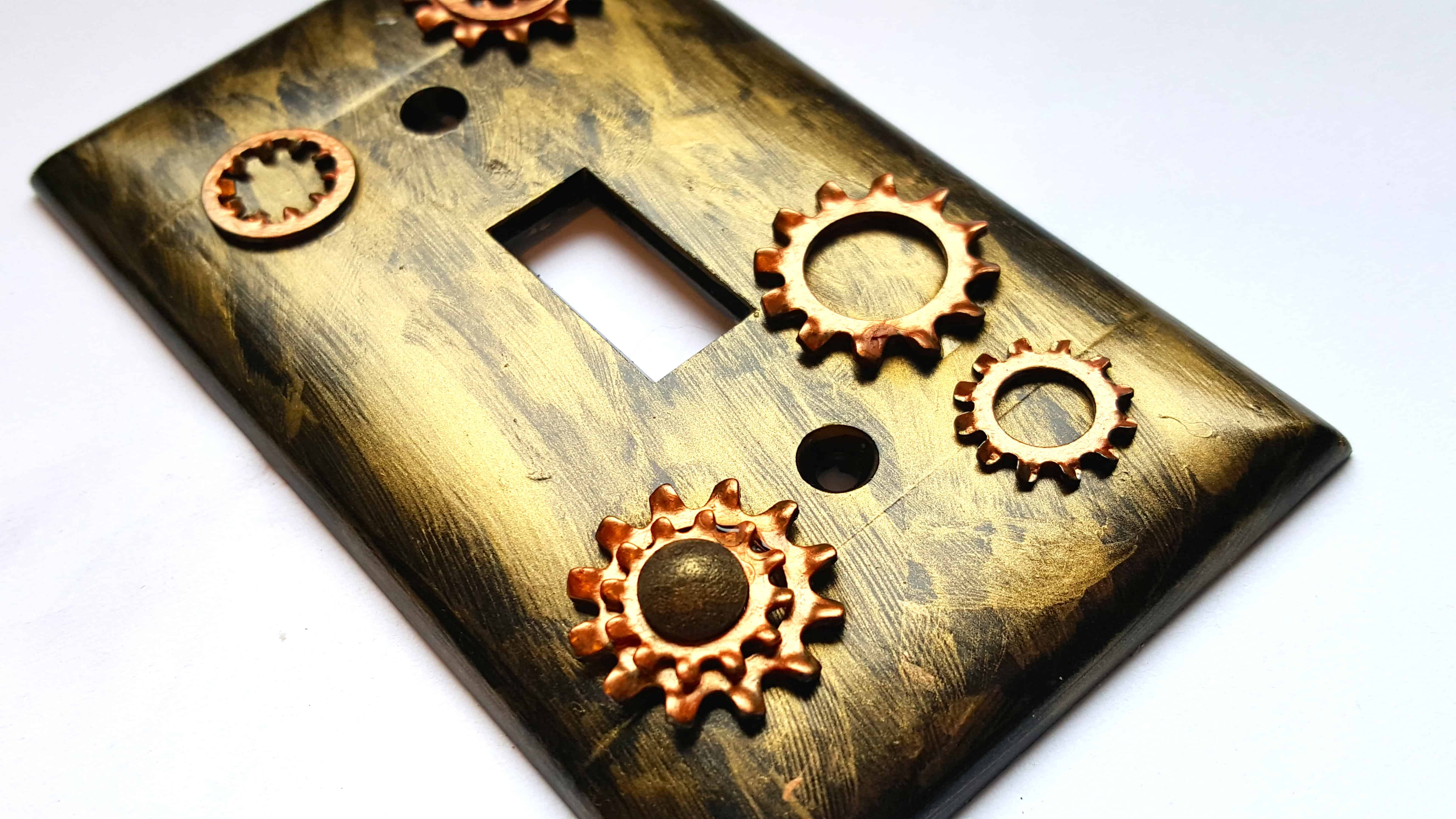 Industrial steampunk light switch plate cover diy home for Diy steampunk home decor