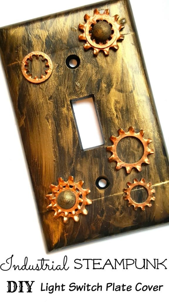 Industrial steampunk light switch plate cover diy home for Diy wall light cover