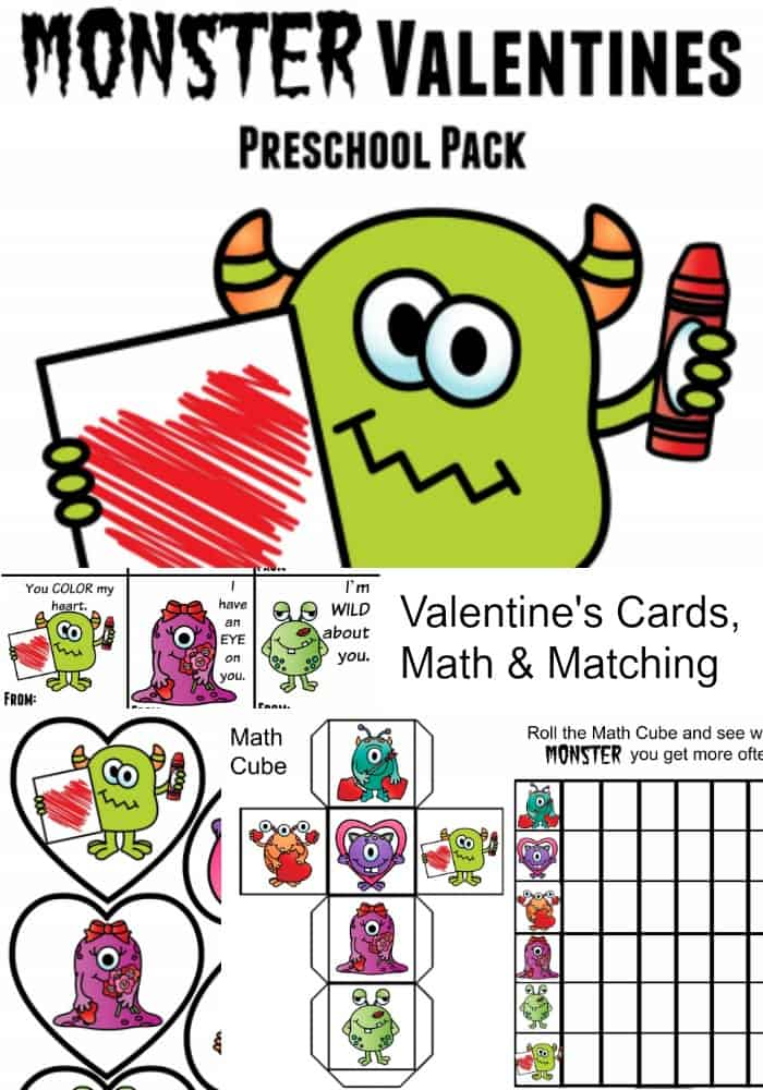 Valentine Printable Cards Math Game Set – Monster Valentine Cards