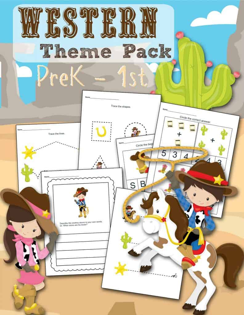 Western Pack Printable Preschool Worksheet set