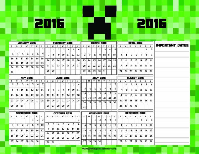Minecraft Calendar 2016 Printable - Bing images