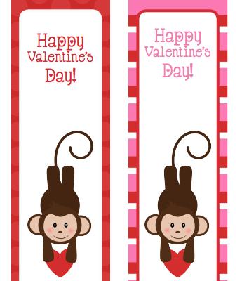 Printable Valentine's Day Bookmarks – Monkeys