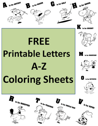 Alphabet Letters A to Z Occupation Coloring Worksheets