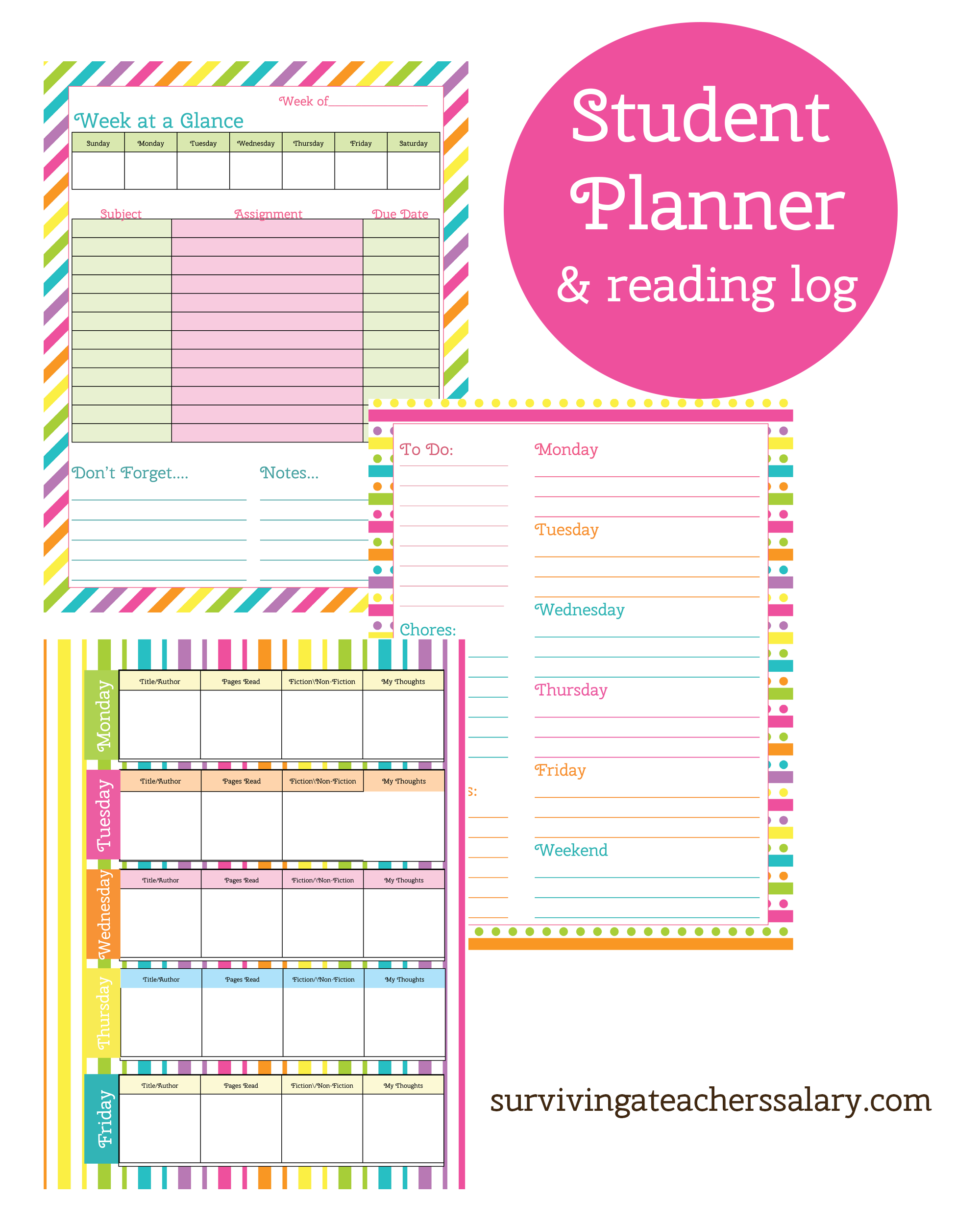 Monster image in free printable student planner