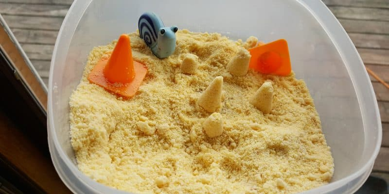 Edible Non Toxic Sensory Kinetic Sand Recipe for Kids