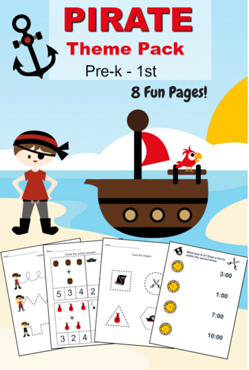 Free Pirate Printable Preschool Worksheet Set