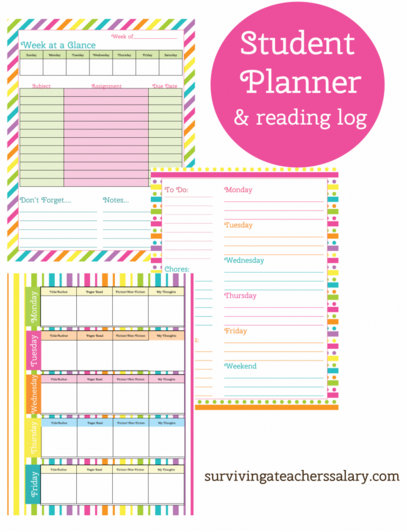 Free Printable Student & Teacher Planner with Reading Log