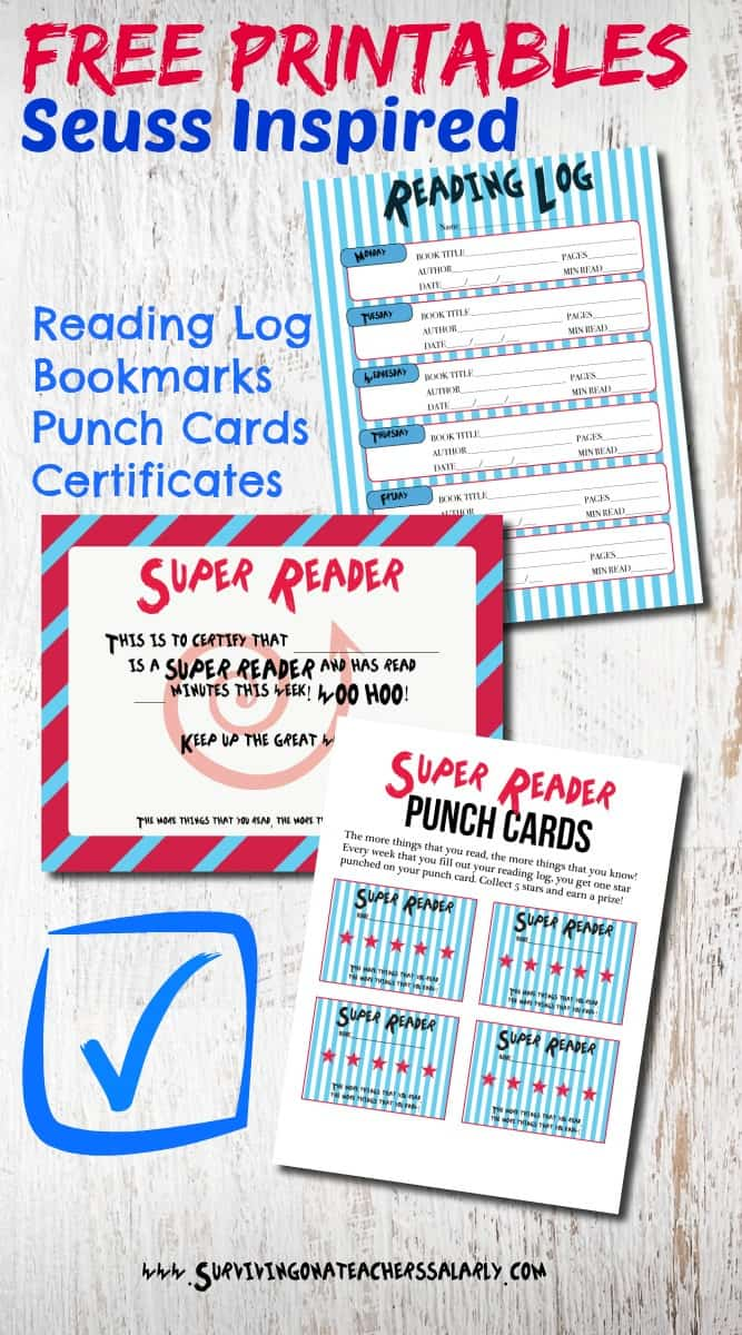 Dr Seuss Inspired Printable Reading Log, Bookmarks, Punch Cards and Award Certificates