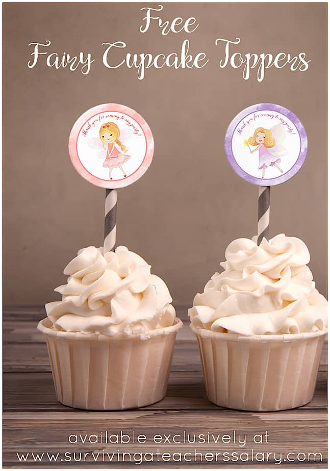 Free Fairy Cupcake Topper & Stickers Party Printable