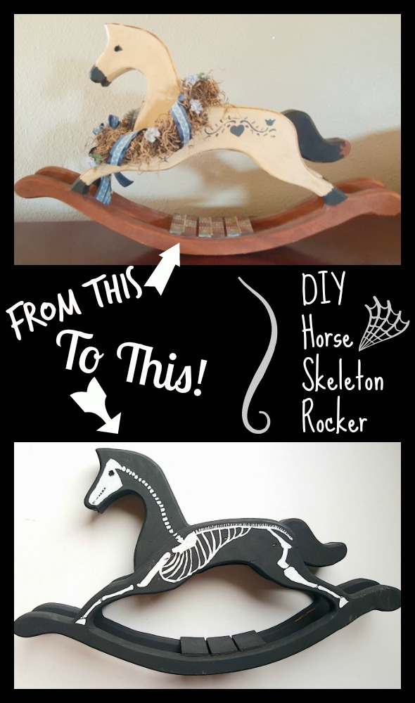 DIY Bones Horse Skeleton Rocker Halloween Home Decoration