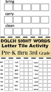 Dolch Sight Words Letter Tile Activity Preschool to 3rd grade