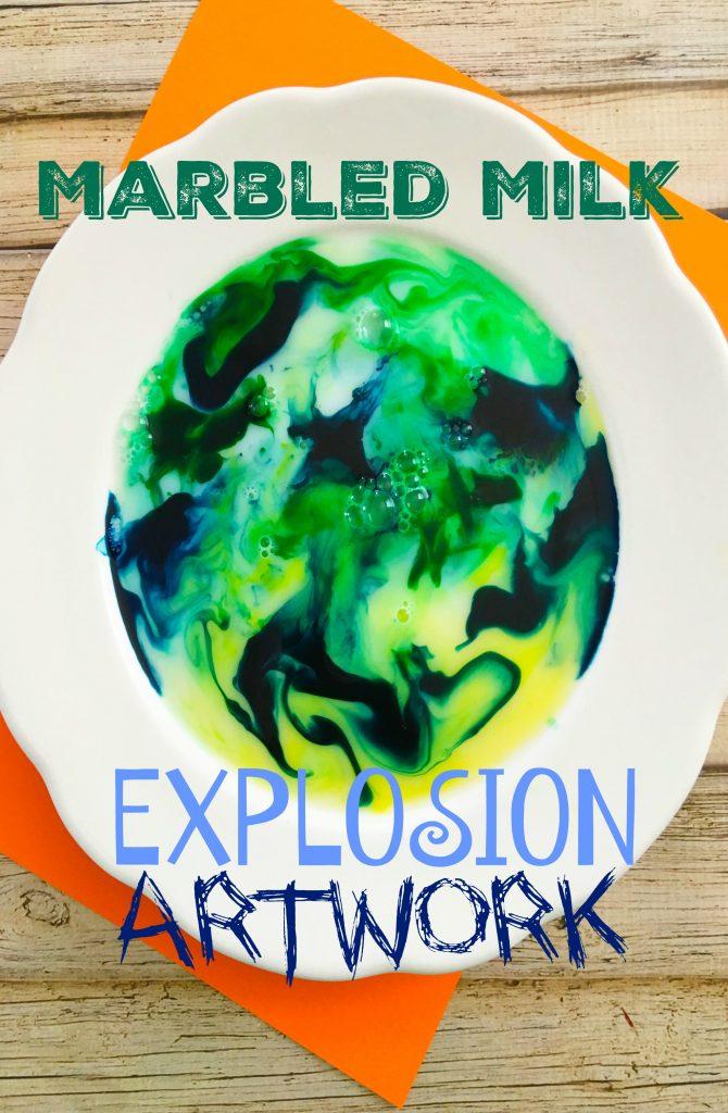 Marbled Milk Explosion Artwork Experiment