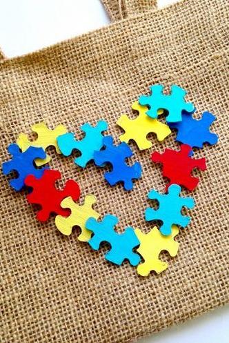 DIY Autism Awareness Puzzle Tote Bag