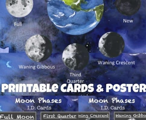 FREE Printable Moon Phases ID Cards + Poster