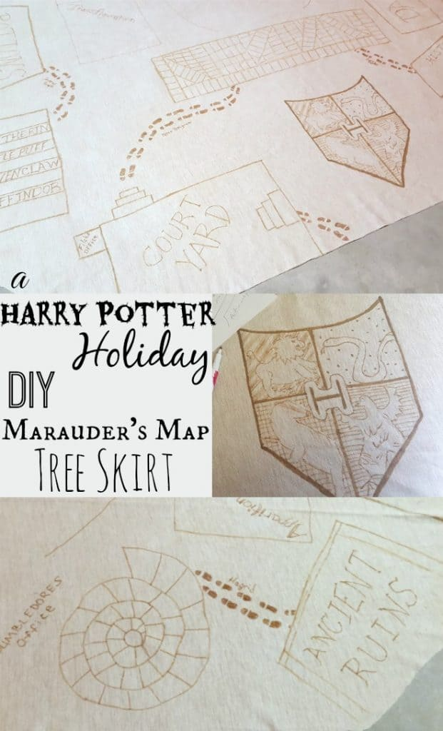 DIY Marauder's Map Tree Skirt Harry Potter Holiday