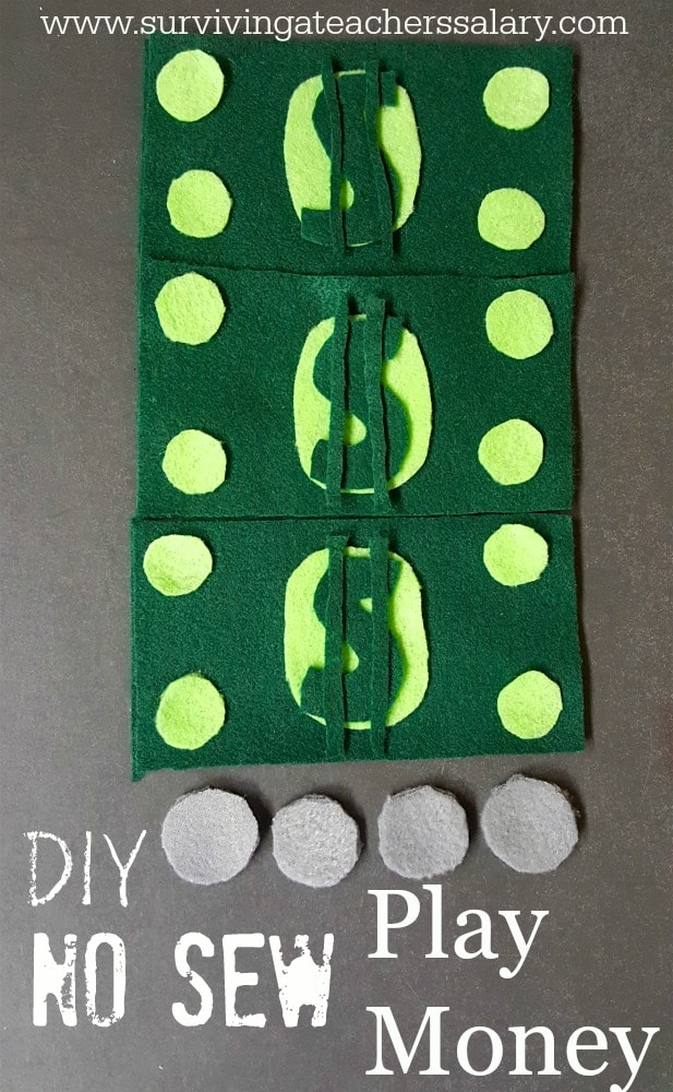 DIY No Sew Play Money for Toddlers