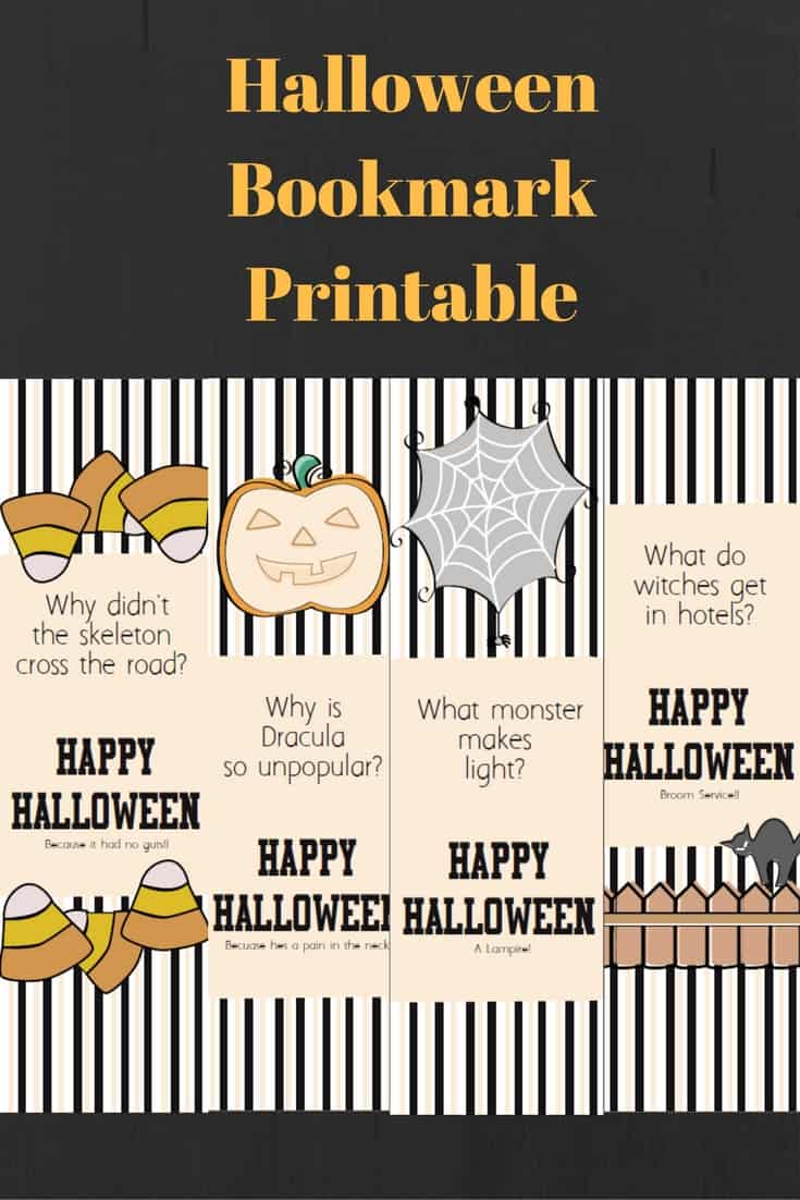 Halloween Jokes Bookmark Printable