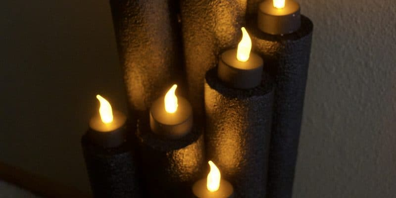 Recycled Pool Noodle Halloween Flameless Candle Decor