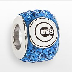Chicago Cubs Charm Sterling Silver with Swarovski Crystals