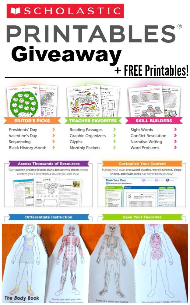 Scholastic Printables Giveaway Free Printables